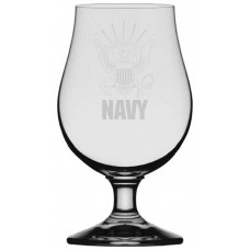 Navy Military Themed Etched Glencairn Crystal Iona Beer Glass